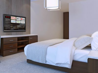 Hotel room with minimalist design. 3D render