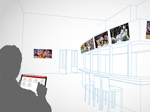 Sketch showing a person controlling several TVs at a bar via a tablet interface