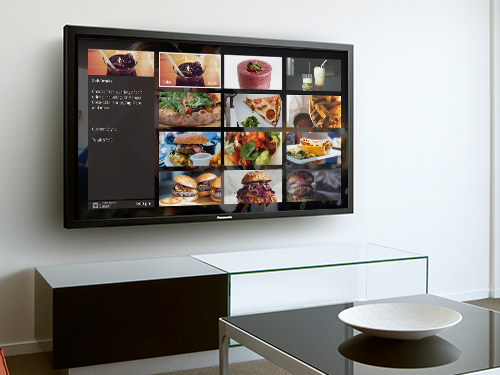In-room dining menu displayed on a guest room tv