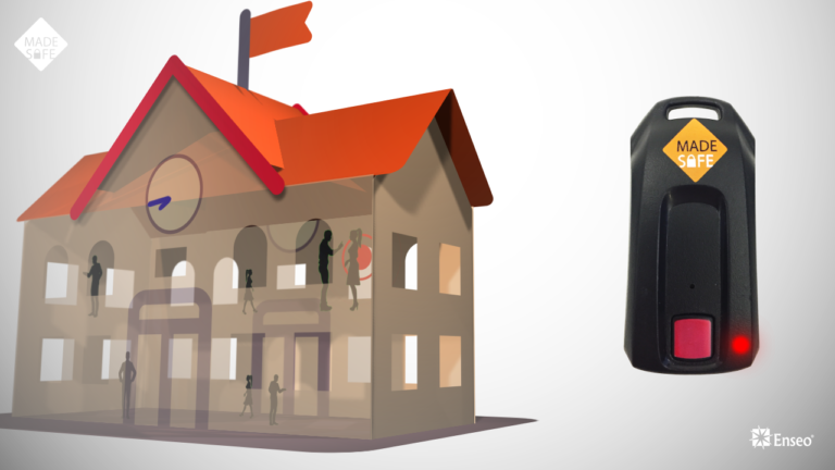 Illustration of a school with a teacher's MadeSafe alert button activated
