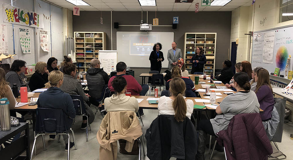 Enseo and Lovejoy ISD representatives meet with a local PTA group to discuss MadeSafe